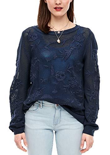 s.Oliver RED Label Damen Lochstrick-Pullover mit Stickerei Dark Steel Blue Knit 42