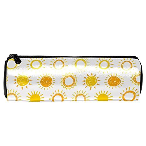 Estuche de lápiz de cuero con diseño de sol amarillo simple y diseño de arte de sol, monedero, bolsa de maquillaje cosmético para estudiantes, papelería, escuela, trabajo, oficina, almacenamiento