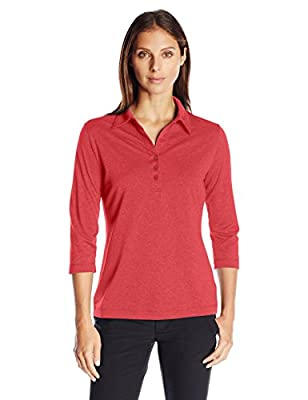 Cutter & Buck Women's CB Drytec 3/4 Sleeve Chelan Polo, Cardinal Red Heather, Medium