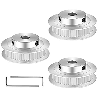 GT2 Idler Timing Belt Pulley 3Pcs GT2 Aluminum Timing Belt Pulley Kit, 60 Teeth 8mm Bore Timing Belt Pulley with 2 Hexagon Wrench for 3D Printer Parts (Silver)