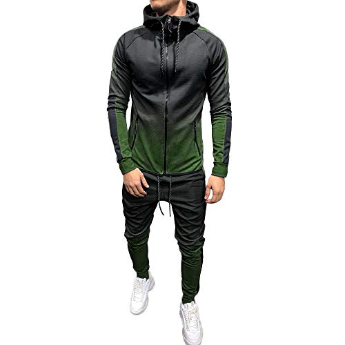 Sweatshirt for Men Cowl Neck Packwork Print Casual Top+Pants Jogging Sets Tracksuit Sportswear Slim Fit by-Leegor
