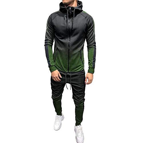 Youngii Ensemble Sports Hommes Automne Hiver Dégradé Impression Survêtement à Capuche Sweat-Shirt Zippée Pantalons Pied de Poutre Running Survêtement Hommes Suit(Vert A,M)