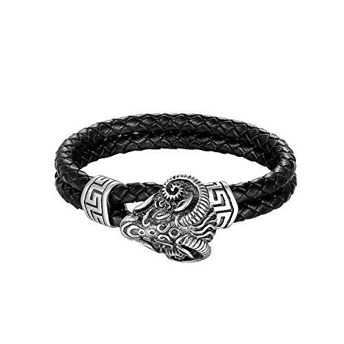 CHOMAY Aries Leather Bracelet Stainless Steel Goat Hook Clasp Double Layer Bangle 215mm
