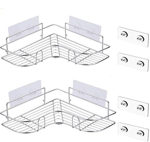 浴室用ラック バス用ラック 収納ラック 付き 強力粘着固定 シャワーラック シャンプー調味料収納 ステンレス鋼 スパイスラック お風呂場 洗面所 台所収納ラック 多機能 収納棚 2個