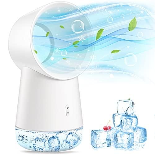 Mini Luftkühler, Mini Klingenlose Klimaanlage, 3 in 1 Luftbefeuchter, Klimageräte und Luftreiniger mit Nachtlicht und Wasserkühlung, Klein Ventilator für Zuhause, Büro,Draussen