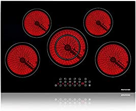 Electric Cooktop, thermomate 30 Inch Built-in Radiant Electric Stove Top, 240V Ceramic Electric Stove with 5 Burners, 9 Heating Level, Timer & Kid Safety Lock, Sensor Touch Control