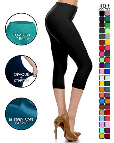 Leggings Depot High Waisted Capri Leggings – Soft & Slim – 37+ Colors