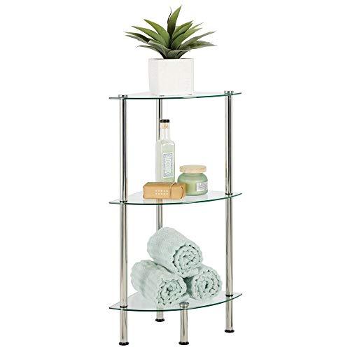 mDesign Moderna estantería de baño – Organizador de baño de cristal con tres baldas – Elegante estante esquinero de ducha para guardar toallas, cremas y cosméticos – transparente y plateado