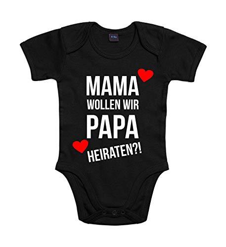 Baby Body Heiratsantrag Für Jungen und Mädchen mit Motiv Spruch Mama Wollen Wir Papa Heiraten in 10 erhältlich Black 3-6 Monate