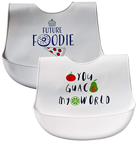 Hudson Baby Silicone Bib 2-Pack, You Guac My World