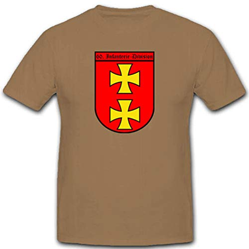 Militär WH Infanterie Division 60infdiv Wappen WK Danzig Bundeswehr Abzeichen Emblem - T Shirt #2670, Größe:XXL, Farbe:Sand