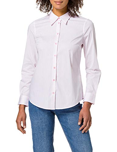 United Colors of Benetton Camicia 5BRP5QCM3 Camisa, Rayas Blancas Y Rosa 60f, S para Mujer