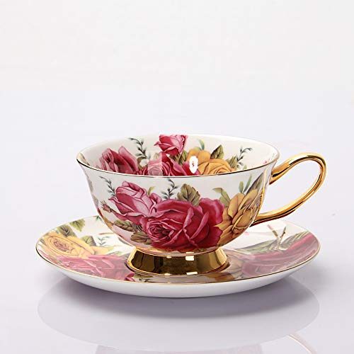 SENFEISM Taza de Trabajo Juegos de Tazas de café de Porcelana de Hueso Tazas y platillos de té de cerámica de Flores Coloridas Taza de té de Oficina británica Porcelana