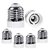 CliCli E26 to E12 (Standard Medium to Candelabra Base) Bulb Adapter, Medium E26 Screw Base Light Bulb Socket Converter Adapter, Max 200W and 165℃ Heat-resistant E26 Base Socket (6-Pack)