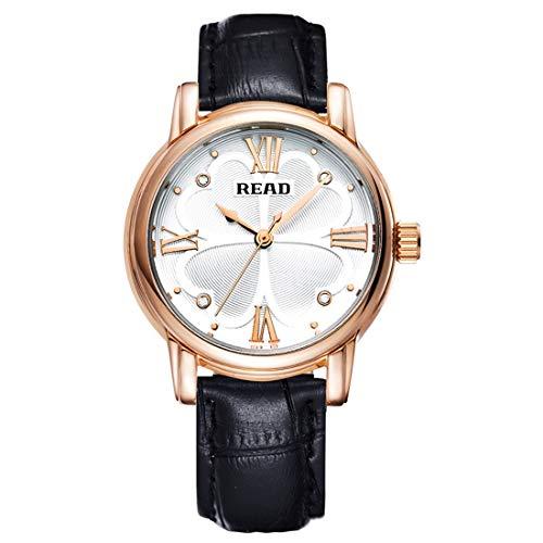 N / A Accesorios Reloj Número Escala Romana trébol de Cuatro Hojas dial diseño Cuarzo Reloj con Banda de Cuero Genuino (Color : Negro)