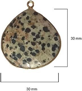 2 Pcs Dalmatian Jasper Heart 30mm by BESTINBEADS I Dalmatian Jasper Stone I Dalmatian Jasper Heart Pendant I Heart Pendant Gold I Bezels Connectors I Dalmatian Jasper Pendant Gold