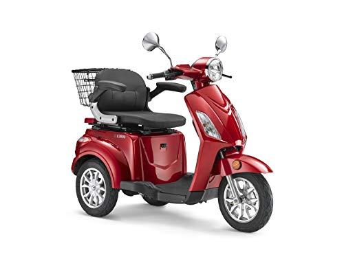 Elektroroller LuXXon E3800 - Elektro Dreirad für Senioren mit 800 Watt, max. 20 km/h, Reichweite bis zu 63 km, weinrot