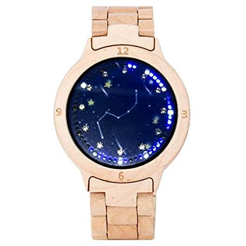 GIPOTIL Reloj de Madera Colorido para Hombre, Pantalla LED única, Pantalla táctil Ligera, Reloj para Hombre, Reloj para Mujer, Relojes de Pulsera de Moda con visión Nocturna, 1