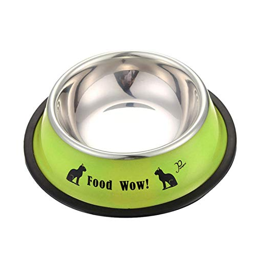 1PC Cute Cartoon Pet Bowl Dry Food Bowls for Cats Dogs Drinking Water Fountain Pet Feeder Stainless Steel Bowl Durable and Non-Toxic Size M Color Green