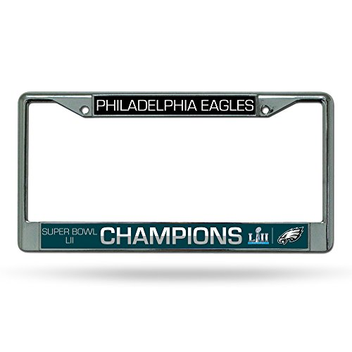 Rico Industries FC25SB18 NFL Philadelphia Eagles Standard Chrome License Plate Frame,Midnight Green,12-inches by 6-inches