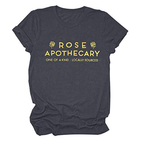 Camiseta de verano para mujer, suelta, informal, básica, elegante, de manga corta, con cuello redondo., Gris B., M
