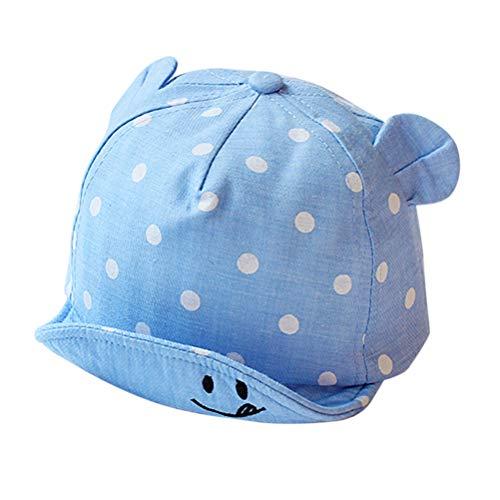 Ahagut Baby Kinder Mütze Junge Baseball Cap Kleinkind Mütze Baseball Tupfen Cap Hut Sonnenschutz mit Ohr(Hellblau)
