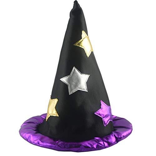 Anliyou Halloween Hexenhut Damen Mädchen Jungen Zauberei Prinzessin Mononoke Magical Girl Halloween Party Cosplay Dekoration Hut Mütze mit Sterne Festival Requisiten Partyball Karneval