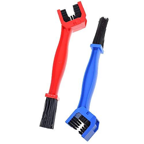 2 piezas cepillo de lavado de cadena bicicleta engranajes limpiador herramienta de limpieza, azul y rojo