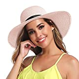 GTETKDE Sun Hats for Women Floppy Beach Hats Roll up Straw Summer Hats Foldable Wide Brim Hat with UV Protection (RB-Pink)