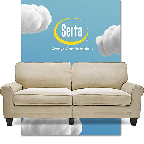 Serta Copenhagen Sofa Couch for Two People, Pillowed Back Cushions and Rounded Arms, Durable Modern Upholstered Fabric, 78', Marzipan
