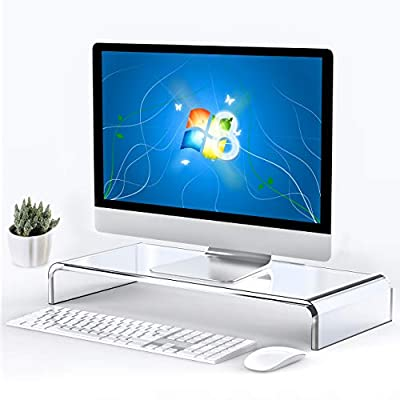 Beimu Computer Monitor Stand Riser Clear Acrylic Laptop Stand Desk Monitor Riser for iMac Stand Home Office Accessories Business Sturdy Platform PC Stand Keyboard Storage White