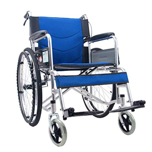 SXTYRL selbstantrieb Rollstuhl mit handbremsen, Faltrollstuhl Rollstuhl faltbar leicht Rollstuhl faltbar trommelbremse Ergonomischer mit Anti-Dekubitus-Kissen für Erwachsene,Blue