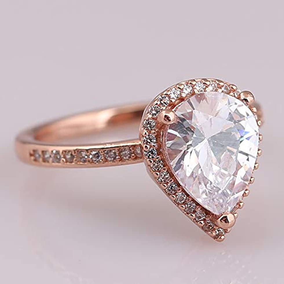 Genuine 925 Sterling Silver Shine Teardrops Ring Rose & Clear Cz Fits Women Exquisite European Jewelry y903812094
