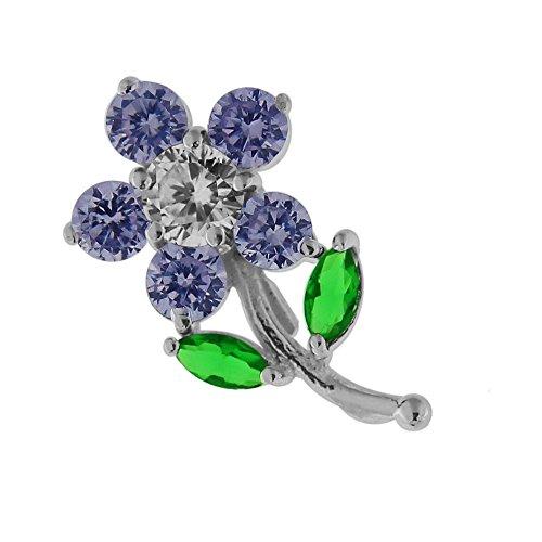 Monster Piercing Lavendel CZ Stein Blume Baum 925 Sterling Silber Anhänger