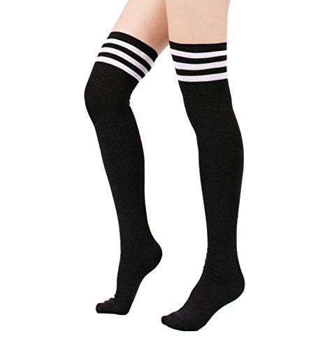 Zando Women Stripe Tube Dresses Over the Knee Thigh High Stockings Cosplay Socks Black