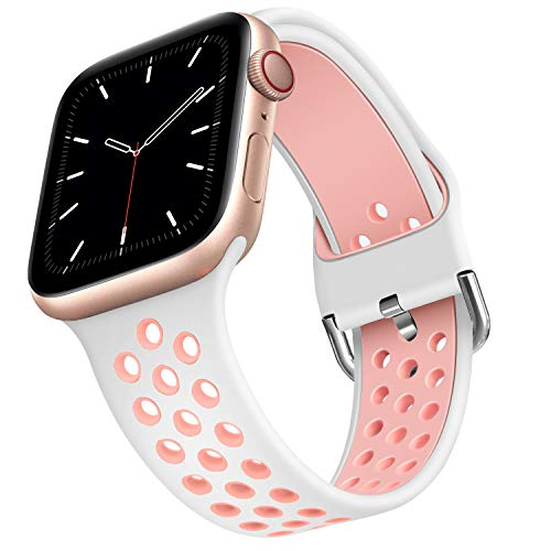 ANCEER Kompatibel mit Apple Watch 5 6 Armband 42mm 40mm 38mm 44mm, Weiche Silikon Sport Ersatz Armbänder für IWatch Series6 SE 5 4 3 2 1 Weiß/Rosa