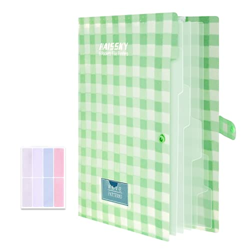 Expanding File Folder 6 Pockets, Guzack Accordion Document Folder Organizer A4 Letter Paper File Organizer Pockets with Buckle Closure, Plastic Expandable File Folders for School Office Home