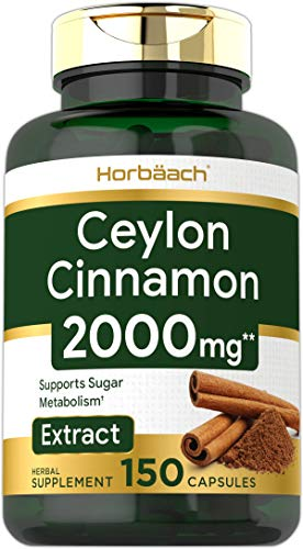 Ceylon Cinnamon Capsules | 2000 mg | 150 Count | Non-GMO & Gluten Free Pills | by Horbaach