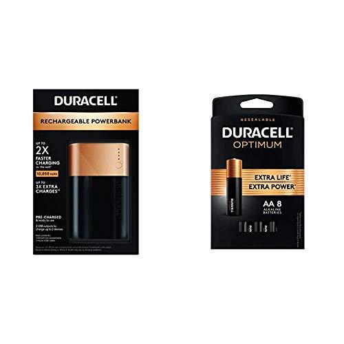 Duracell Rechargeable Powerbank - 10050 mAh + Optimum AA Alkaline Batteries - 8 Count