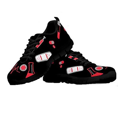 Coloranimal Mujeres Ligeras para Correr Zapatillas para Caminar Casual DailyShoes Elegante Enfermera Latido del corazón Impreso Gimnasio Deportes Correr Pisos Suela de Goma Suave EU40
