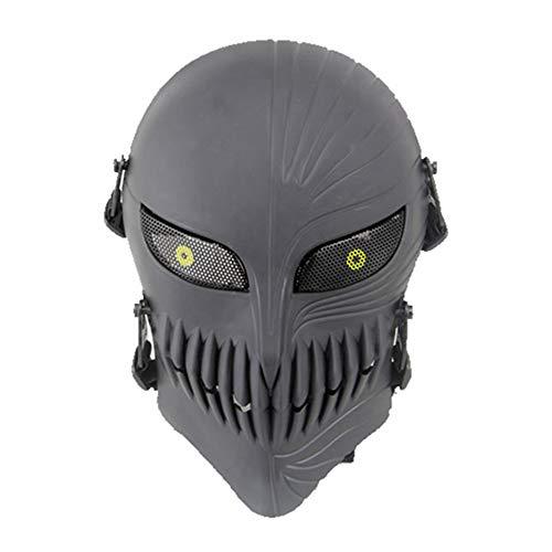 haoYK Taktischer Totenkopf-Vollgesichts-Schutzmasken für Airsoft, Paintball, Outdoor, Cs, Kriegsspiel, BB-Pistole, coole gruselige Geister, Halloween-Party-Maske, schwarz