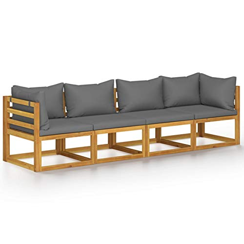 Ksodgun Sofá de jardín de 4 plazas con cojín Conjuntos Sofa Exterior Muebles de Jardín Madera Maciza de Acacia