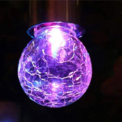 JALAL 3 Colour Changing Solar Cracked Glass Globe Lights, 9x6cm Mosaic Crackle Globes LED Garden Night Light with Hanging Hooks