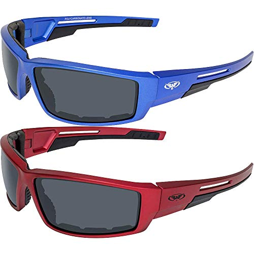 Global Vision 2 Pair Sly Motorcycle ATV Padded Riding Glasses Sunglasses with Smoke Lenses and Red...