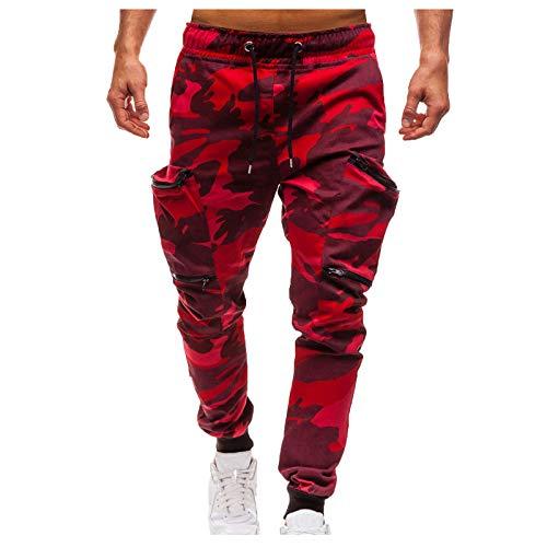 Jogginghose Herren Hose Cargo Chino Jeans Stretch Jogger Sporthose Fitness Trainingshose Herren Loose Haremshose Camouflage Cargohose Mit Taschen (M, Rot)