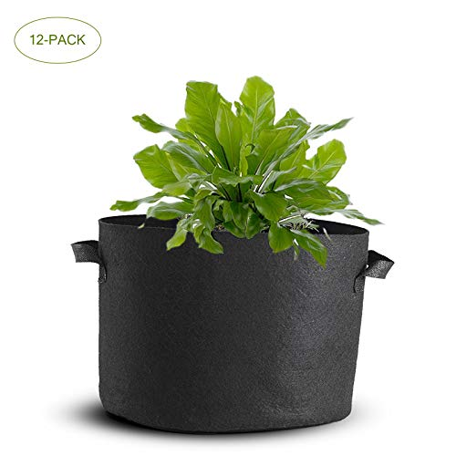 Mophorn 12-Pack 100 Gallon Plant Grow Bag Aeration Fabric Pots with Handles Black Grow Bag Plant Container for Garden Planting Washable and Reusable