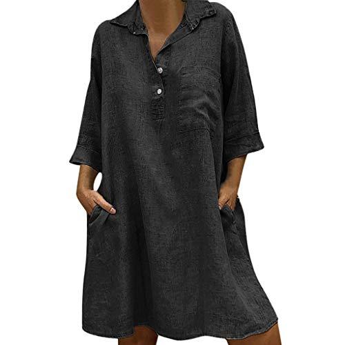 Sannysis Damen Leinenkleid V-Ausschnitt Casual Kleid im Boho Look Sommerkleider Lange Bluse Rand Buttons Lose Beiläufige Tunika Hippie Mexikanische Freizeit Kleider (XL, Schwarz)