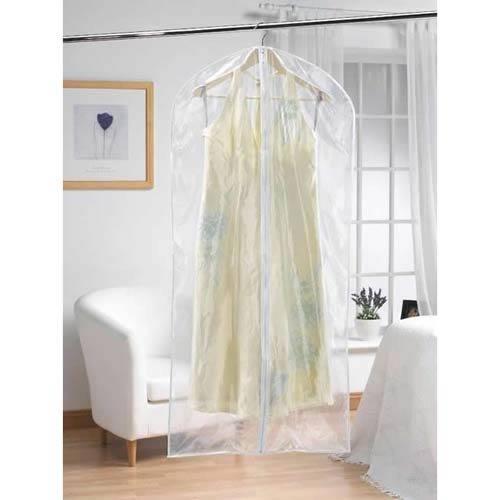 Caraselle polyéthylène transparent avec fermeture éclair 10 protections pour robe.