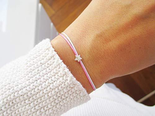 Armband mit Sternchen Sterlingsilber | Gedenkarmband Sternenkind Sternenmama Stern | Hellblau Rosa doppelt