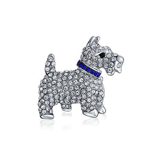 Bling Jewelry Weiße Kristall Scottie Hund HaúStier Tier Brosche Pin Für Frauen Silber Ton Rhodium Vergoldet 1,6 Zoll
